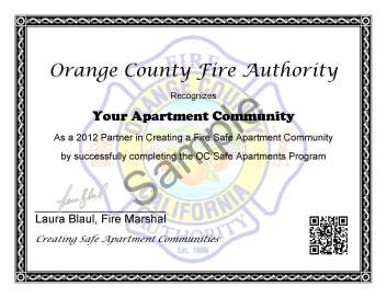 OC Safe Apartment Sample Certificate